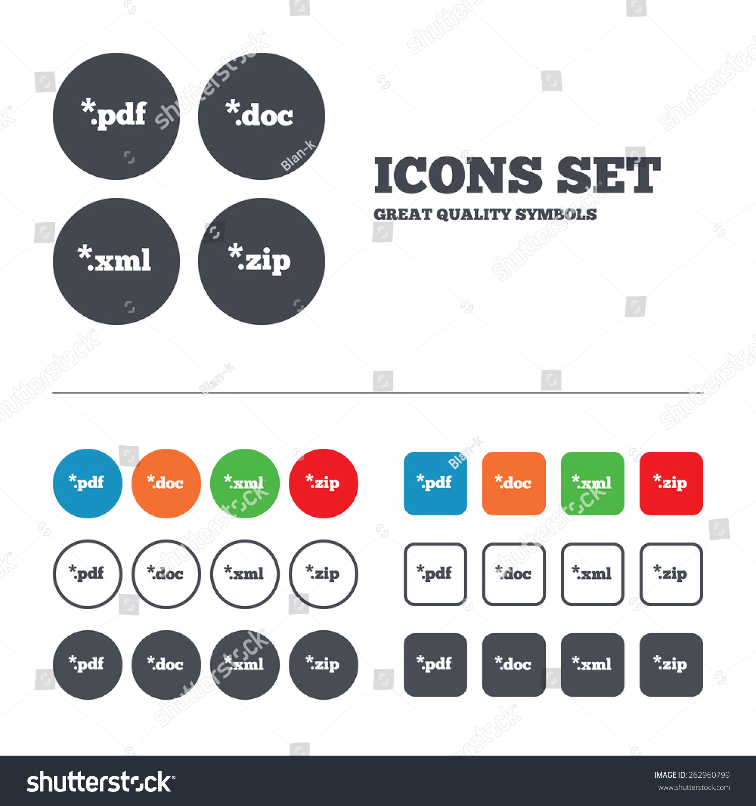 Document Icons File Extensions Symbols Pdf Stock Vector 262960799