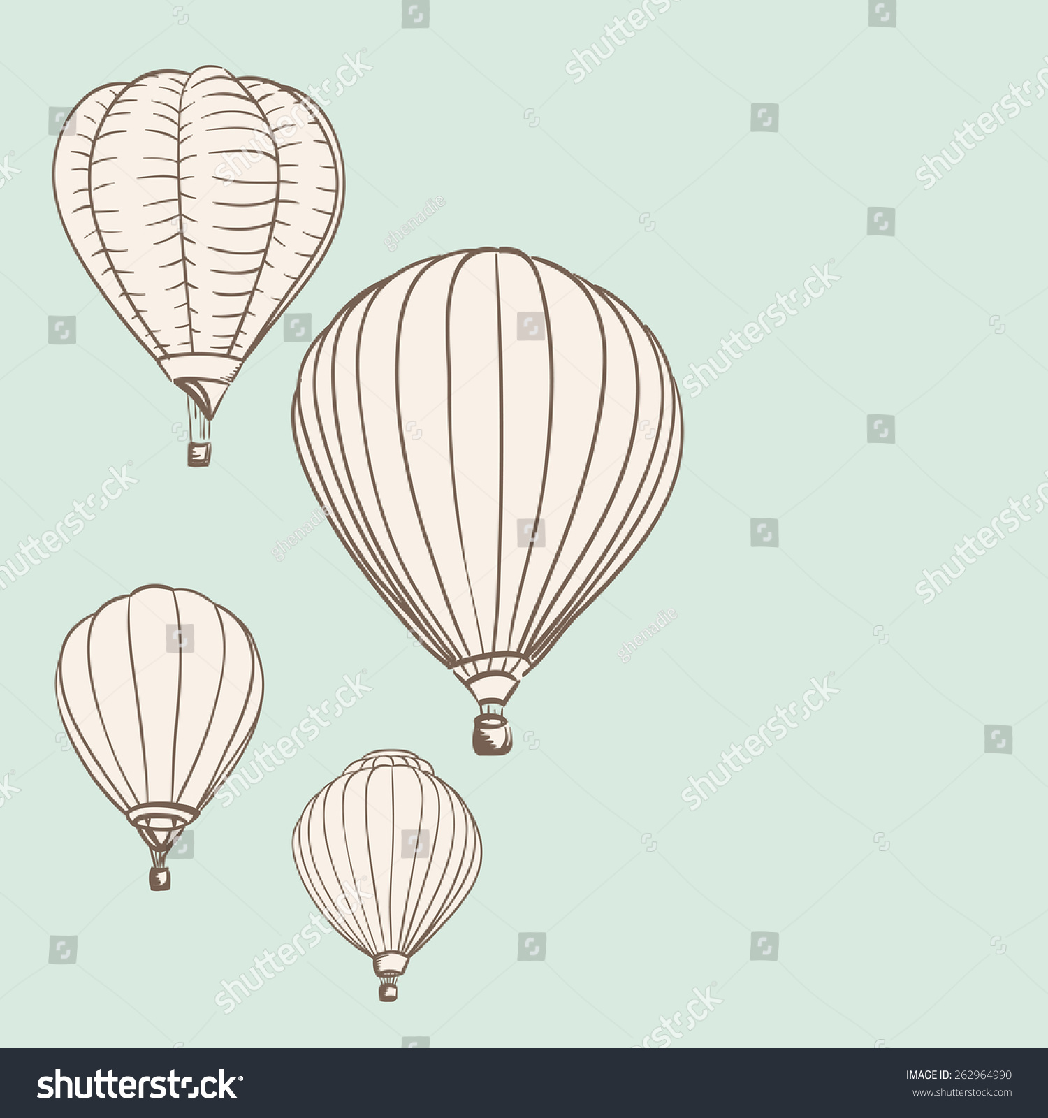 hot air balloons background drawing vector illustration