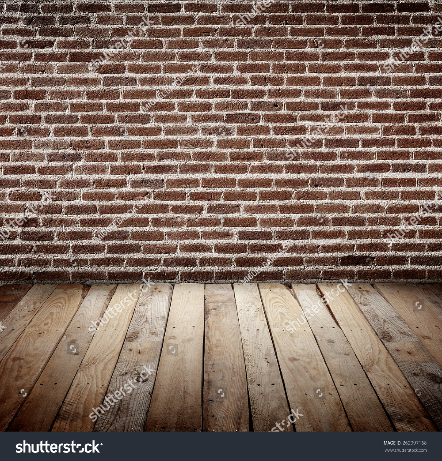 Brick Wall Wooden Slats Floor Background Stock Royalty Free