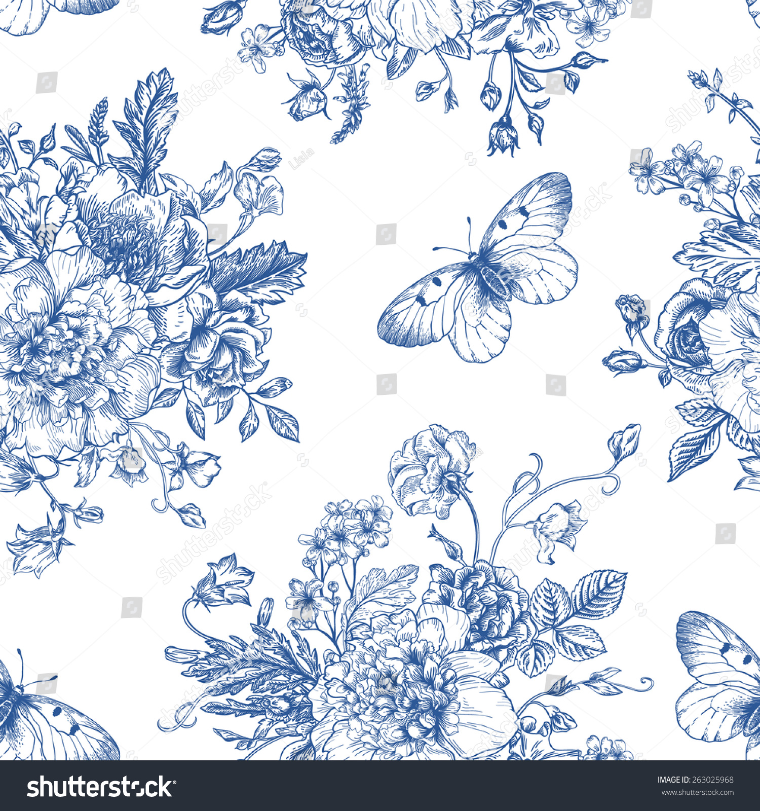 Seamless Vector Vintage Pattern Bouquet Blue Stock Vector ...