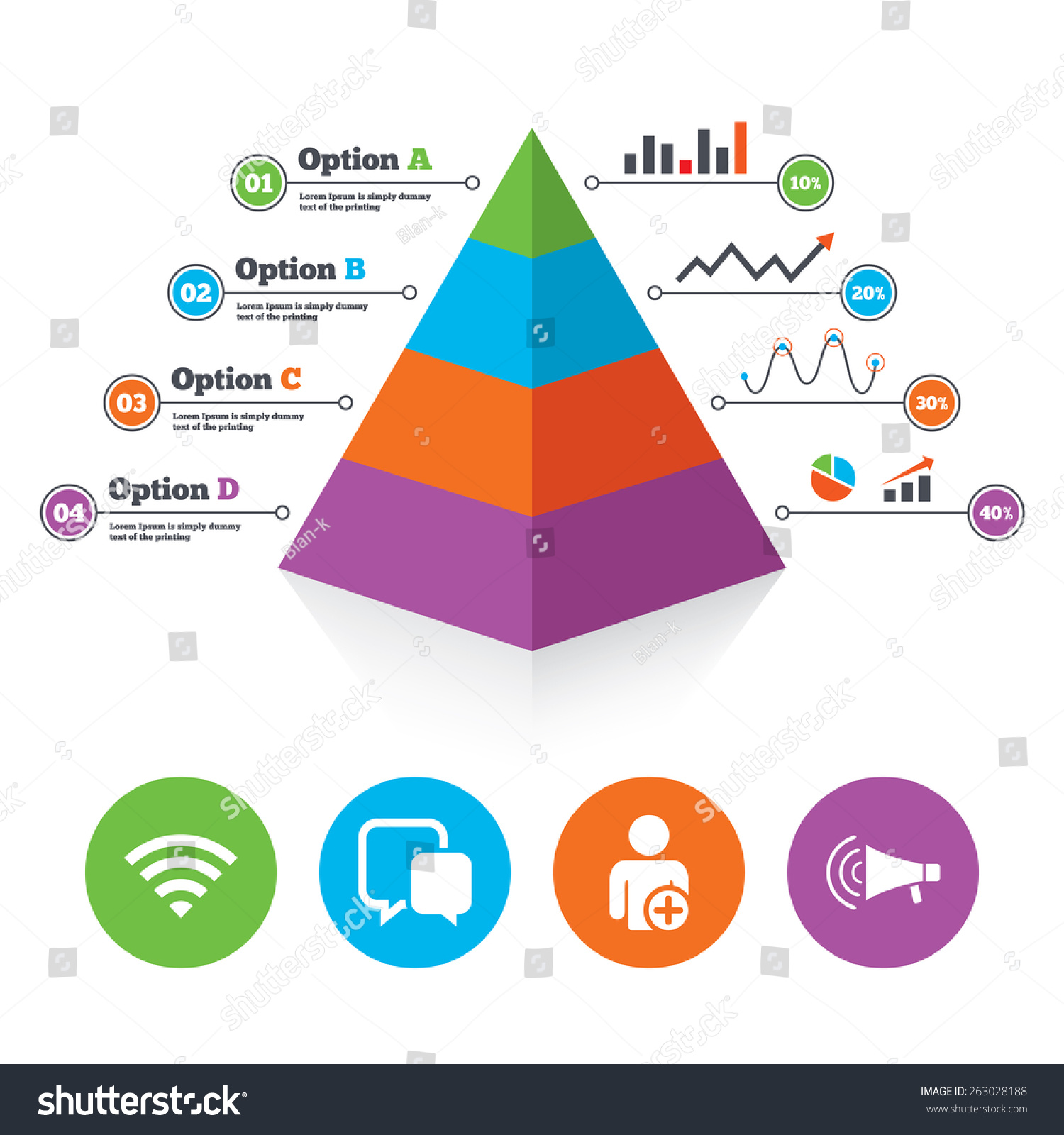 pyramid chart template  wifi and chat bubbles icons  add user and megaphone  loudspeaker symbols