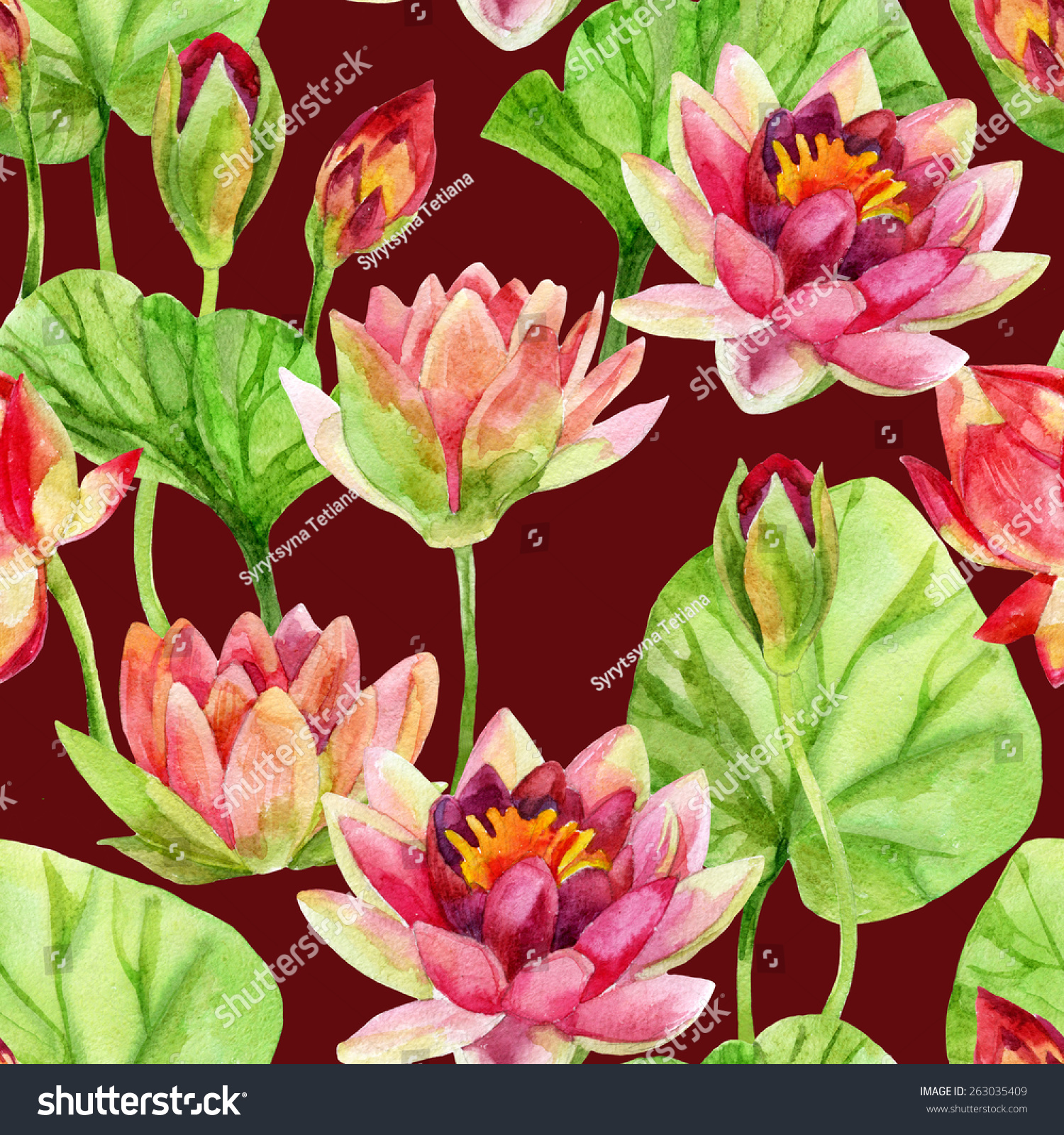 Hand Painted Lotus Flower Pattern Watercolor Stock Illustration