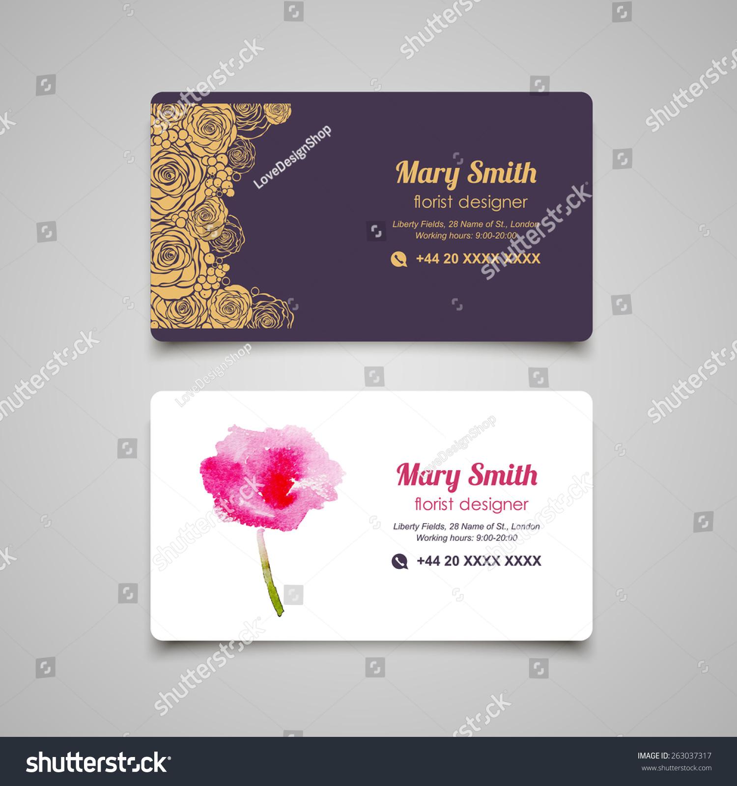 Florist Business Card Design Templates Set Stock Photo (Photo ...