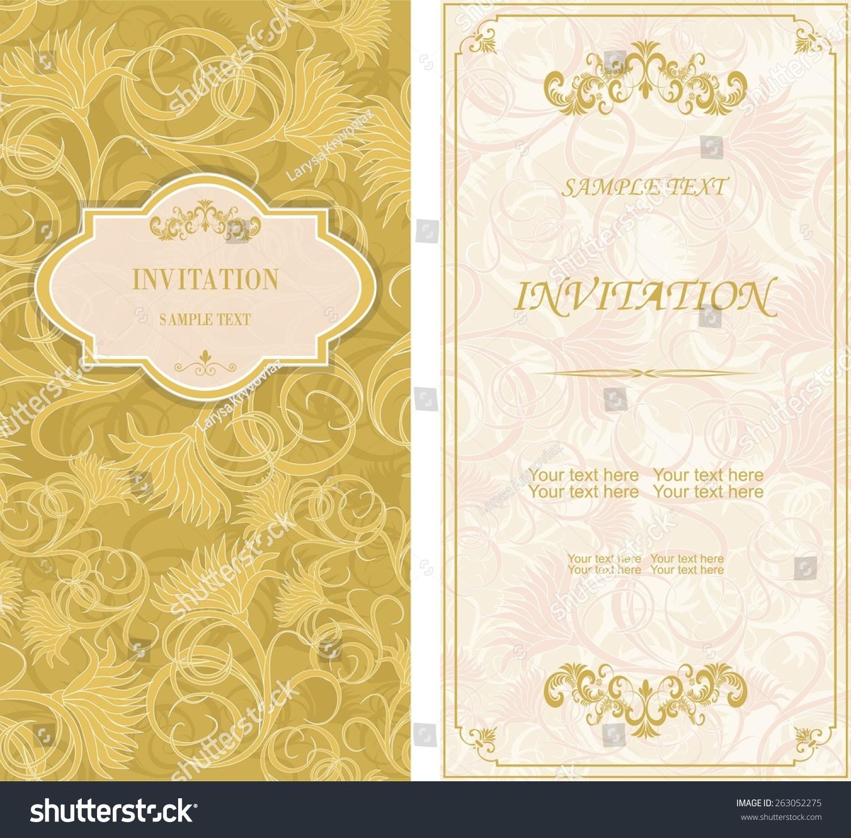 Set Vintage Invitation Cards Victorian Pattern Vector – Vintage Invitation Cards
