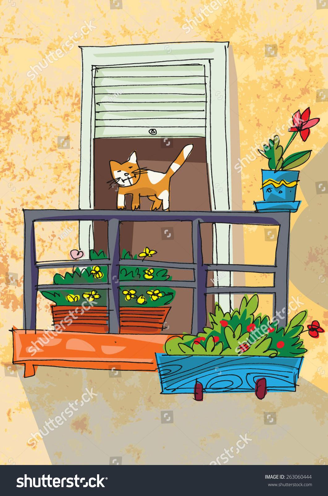 Cute balcony cartoon stock vector 263060444 shutterstock for Balcony cartoon