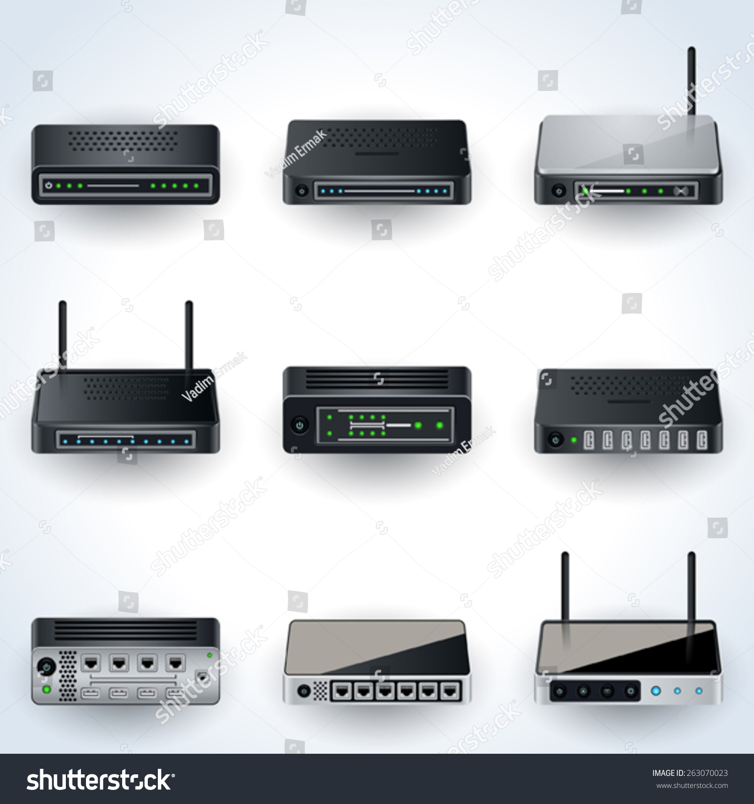Network Equipment Icons : Network equipment icons modems routers hubs realistic