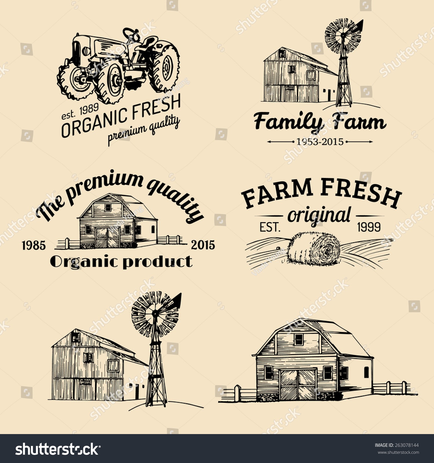 Vector Retro Set Farm Fresh Logotypes Stock Vector Shutterstock