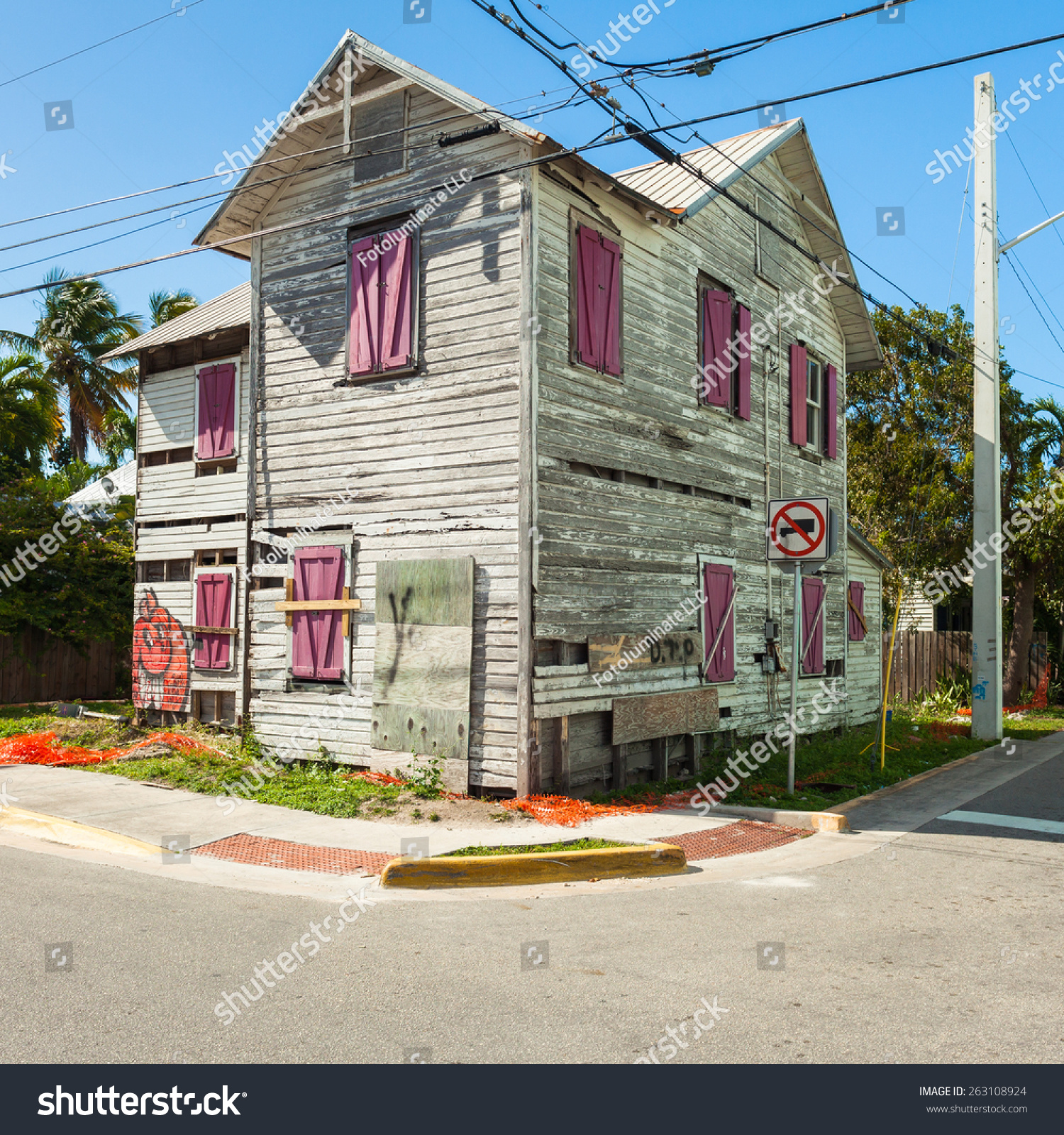 Key west florida usa march 2 stock photo 263108924 for Wood frame house in florida