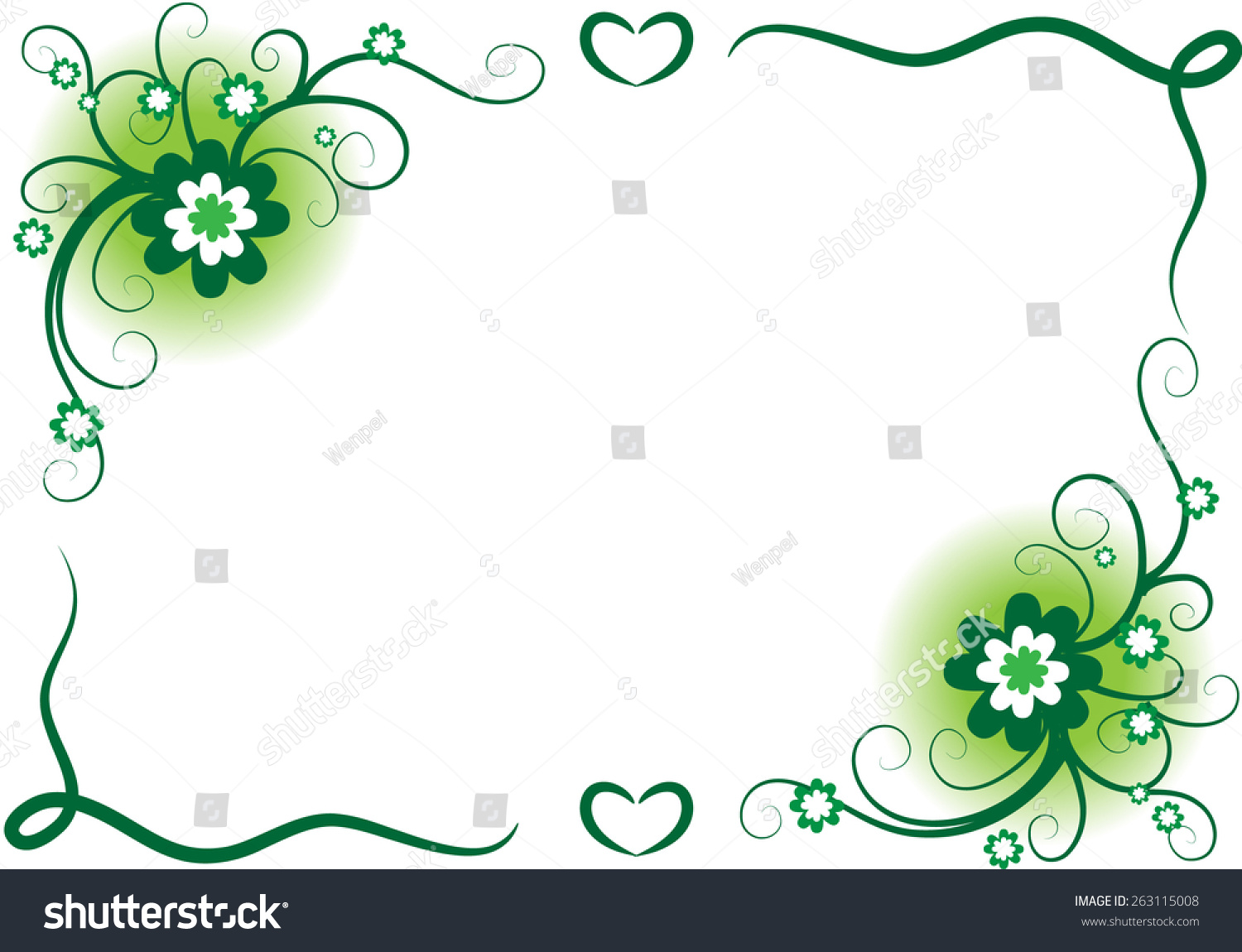 Vector Design Flowers Border Green Stock Vector Royalty Free