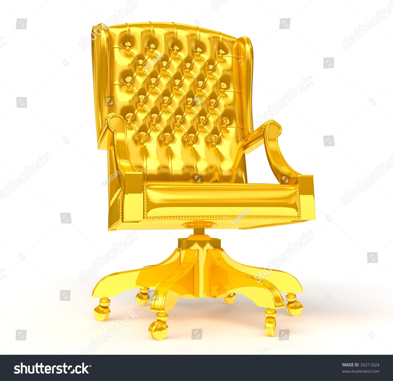 Golden Chair Isolated White Stock Illustration