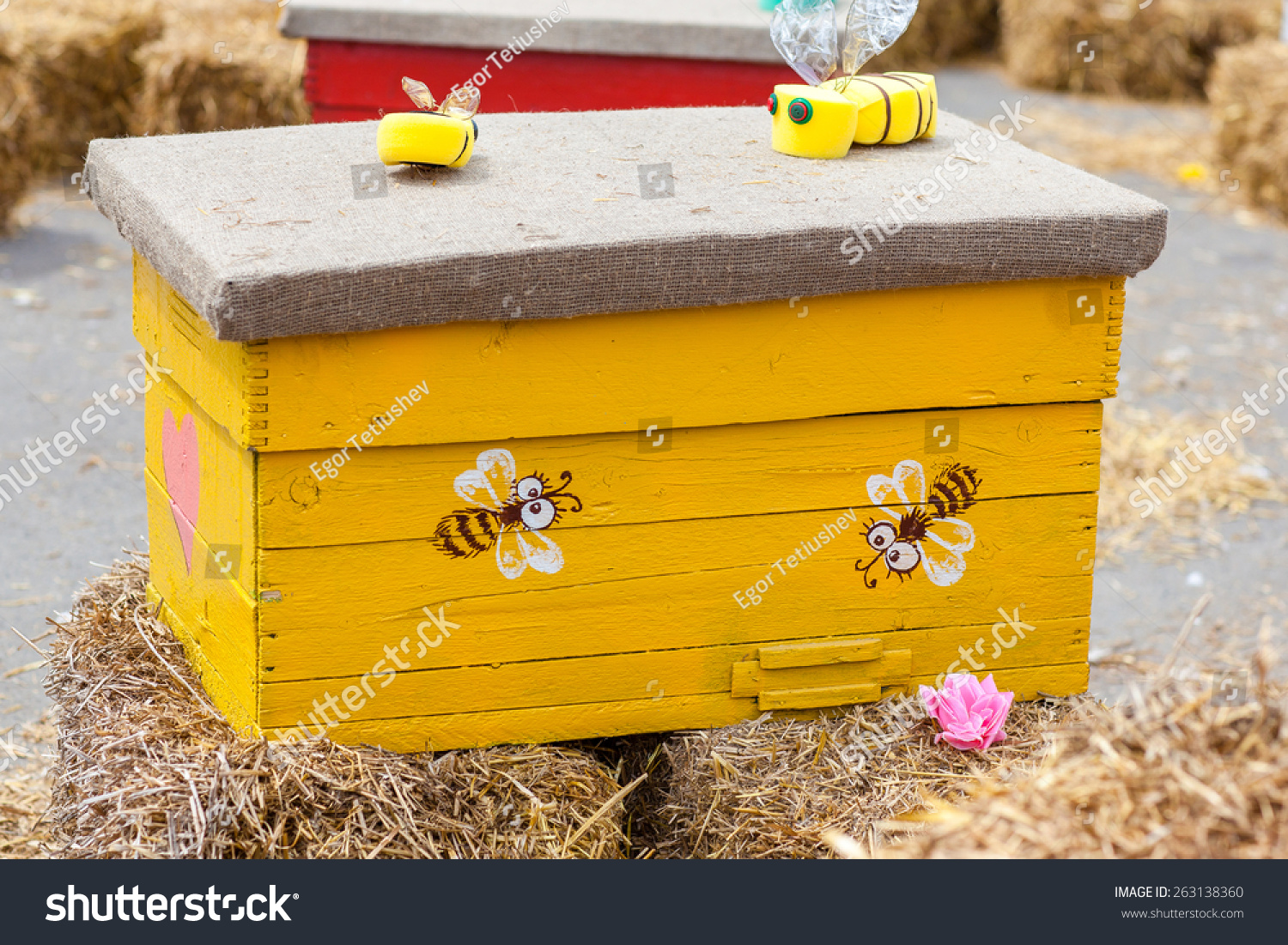 Decorative Painted Beehive With Bees Artificial Standing On A Haystack Original Design Ethno