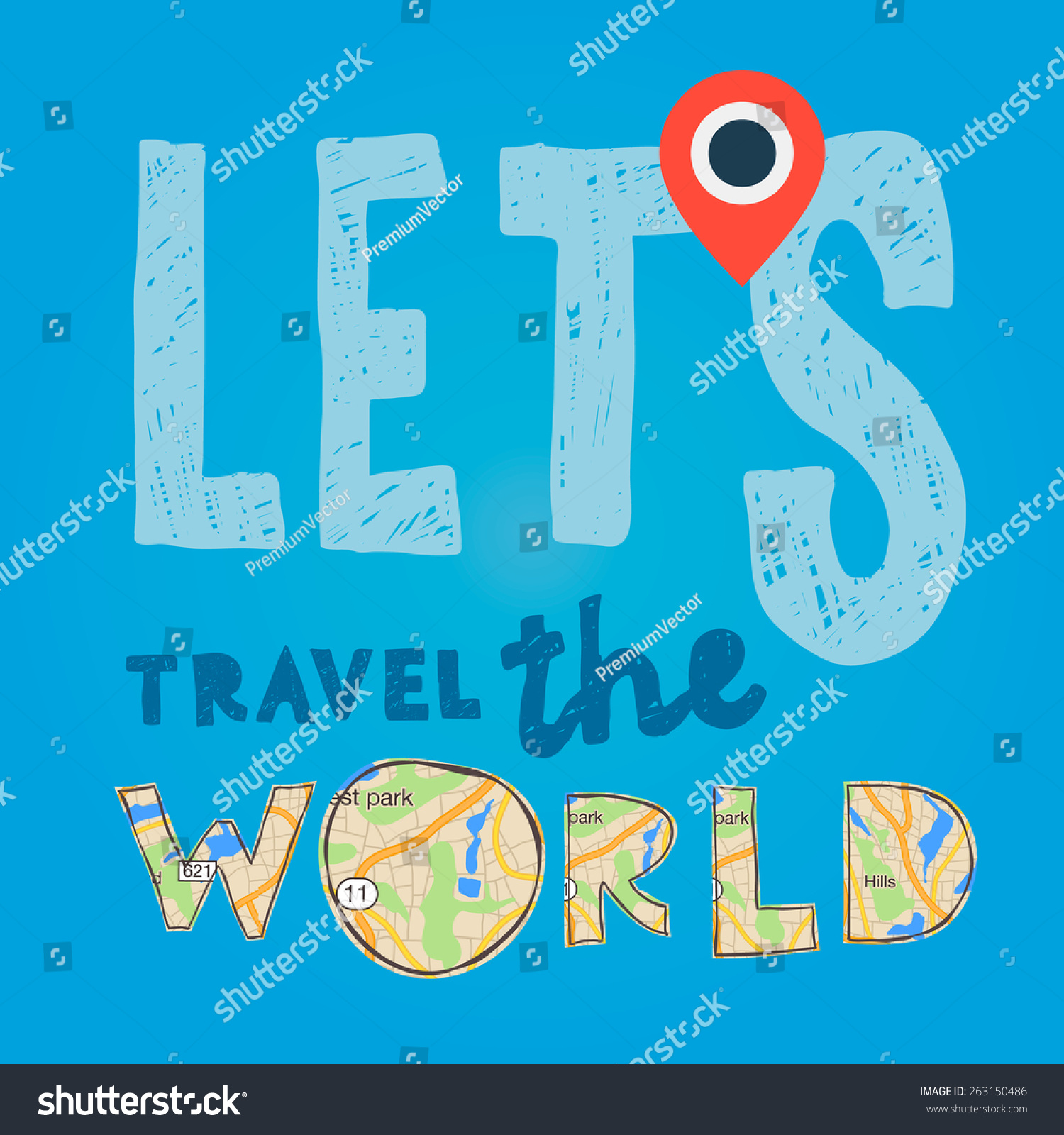 Go Travel Vacations: Lets Go Travel World Vacations Tourism Stock Vector