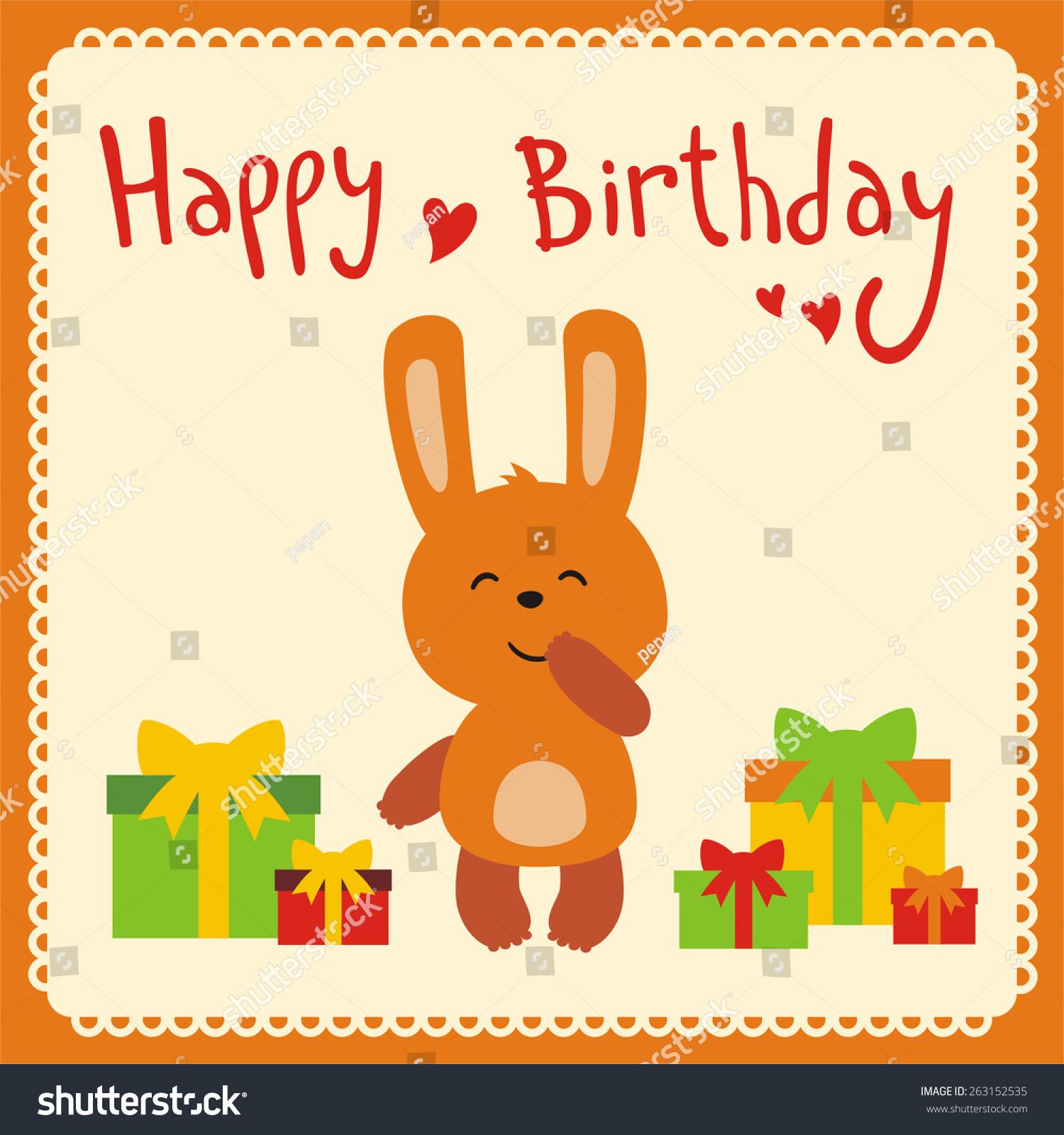 Happy Birthday Card Cute Rabbit Vector 263152535 Shutterstock – Happy Birthday Card Cute