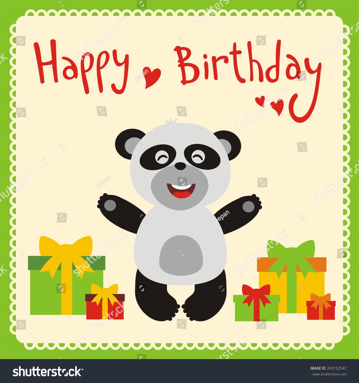 Happy birthday card smiling panda birthday stock vector 263152547 happy birthday card smiling panda with birthday gifts bookmarktalkfo Choice Image