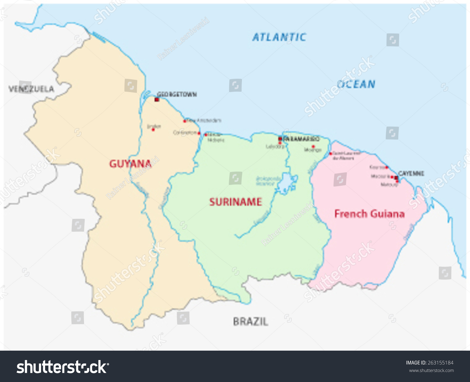 Guyana Suriname French Guiana Map Stock Vector 2018 263155184