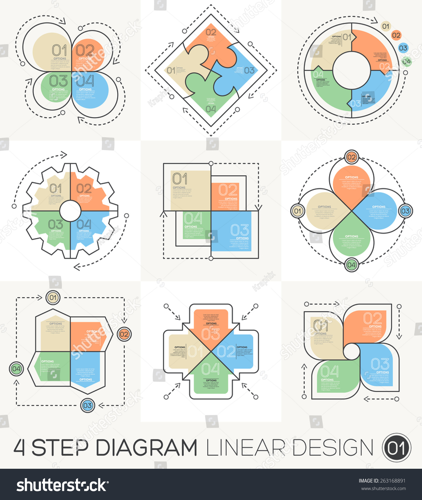 Graphic Design Elements Line : Circle gear arrows set linear line stock vector