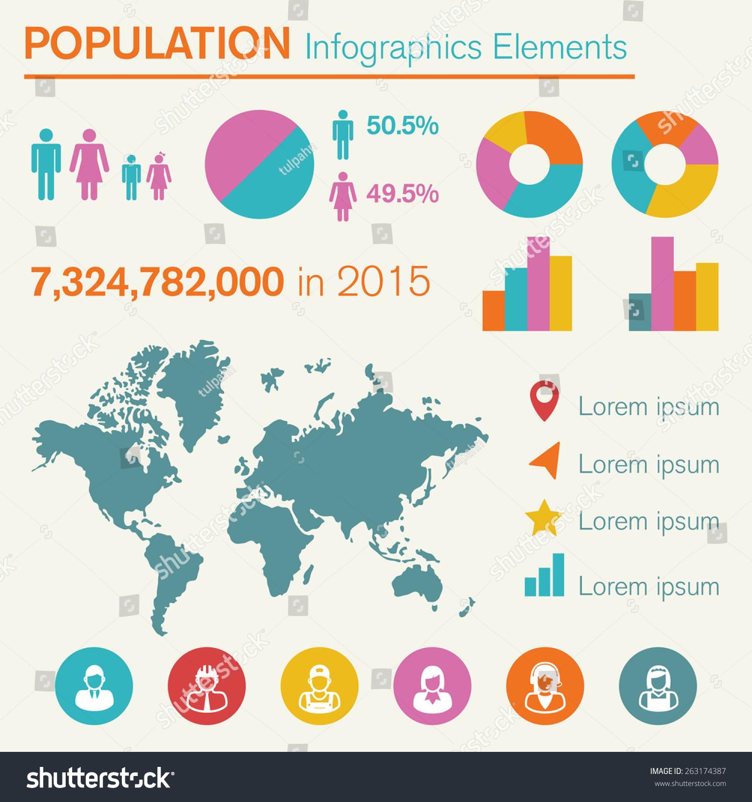 Population Infographics Elements Vector Symbols Stock Photo Photo