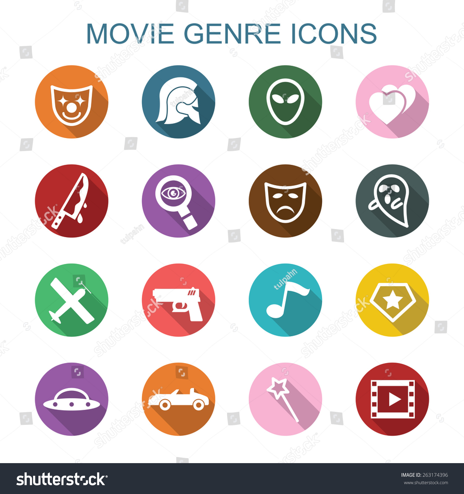 Movie Genre Long Shadow Icons Flat Stock Vektorgrafik Lizenzfrei