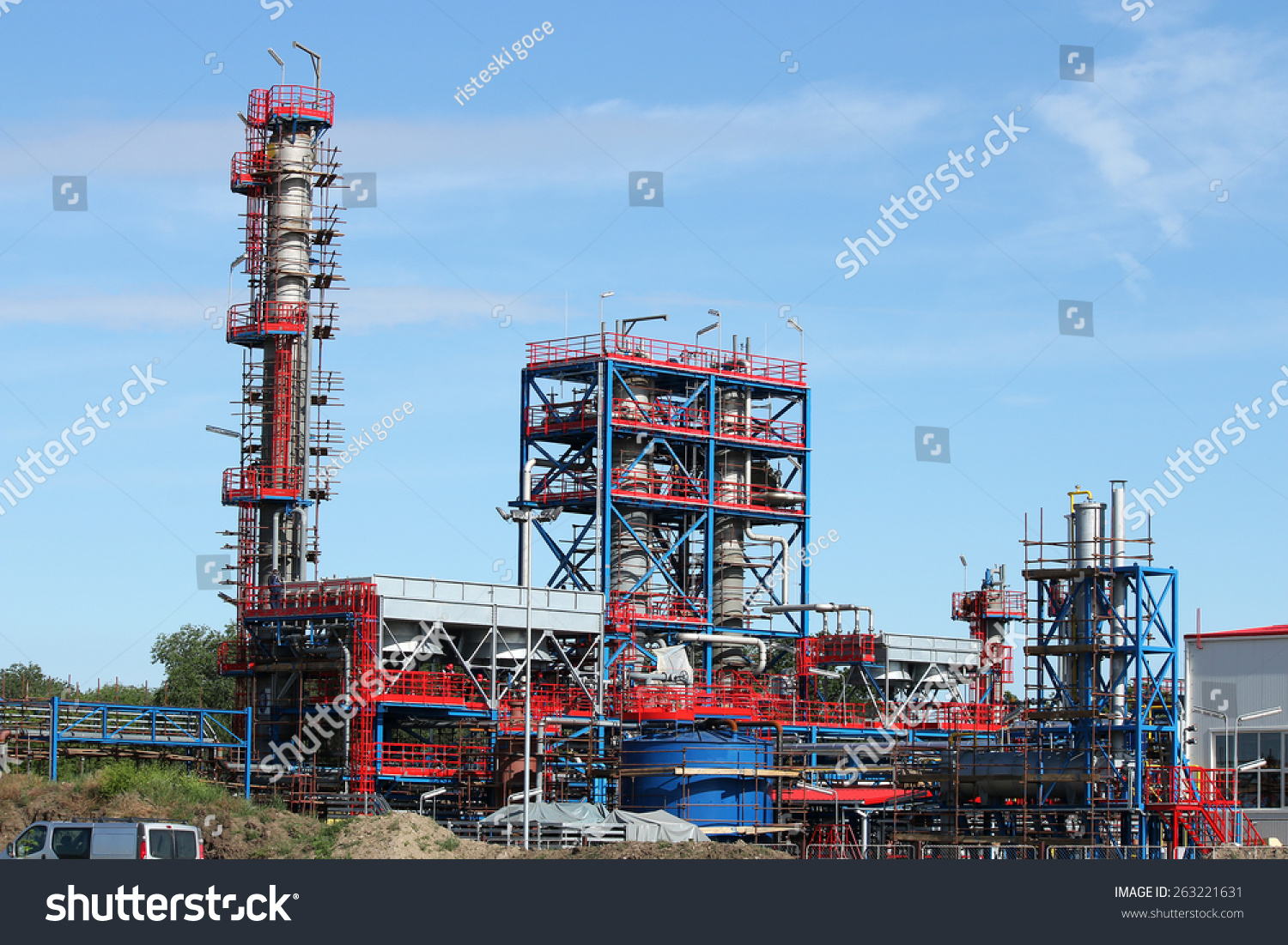Petrochemical Plant Oil Industry Construction Site Stock Photo (Edit