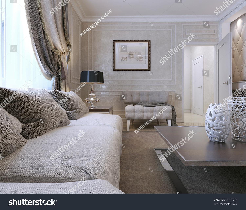 Living Room Art Deco Style 3 D Stock Illustration Royalty Free - Living-room-art-property