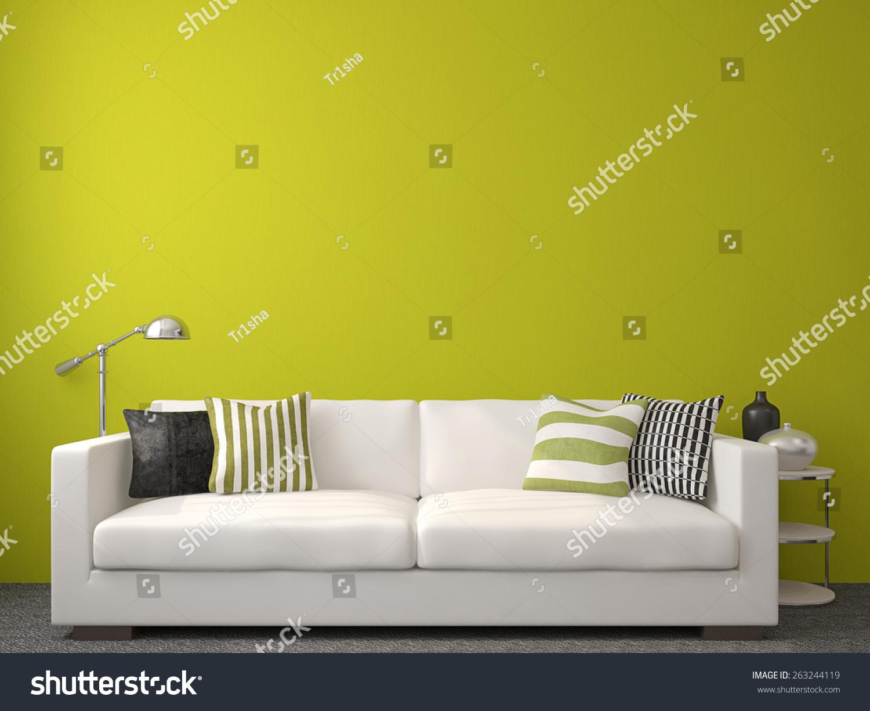 Modern Livingroom Interior White Couch Near Stock Illustration ...