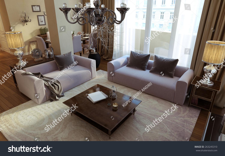 Living Room Art Deco Modern Style Stock Illustration 263245310 - Living-room-art-property