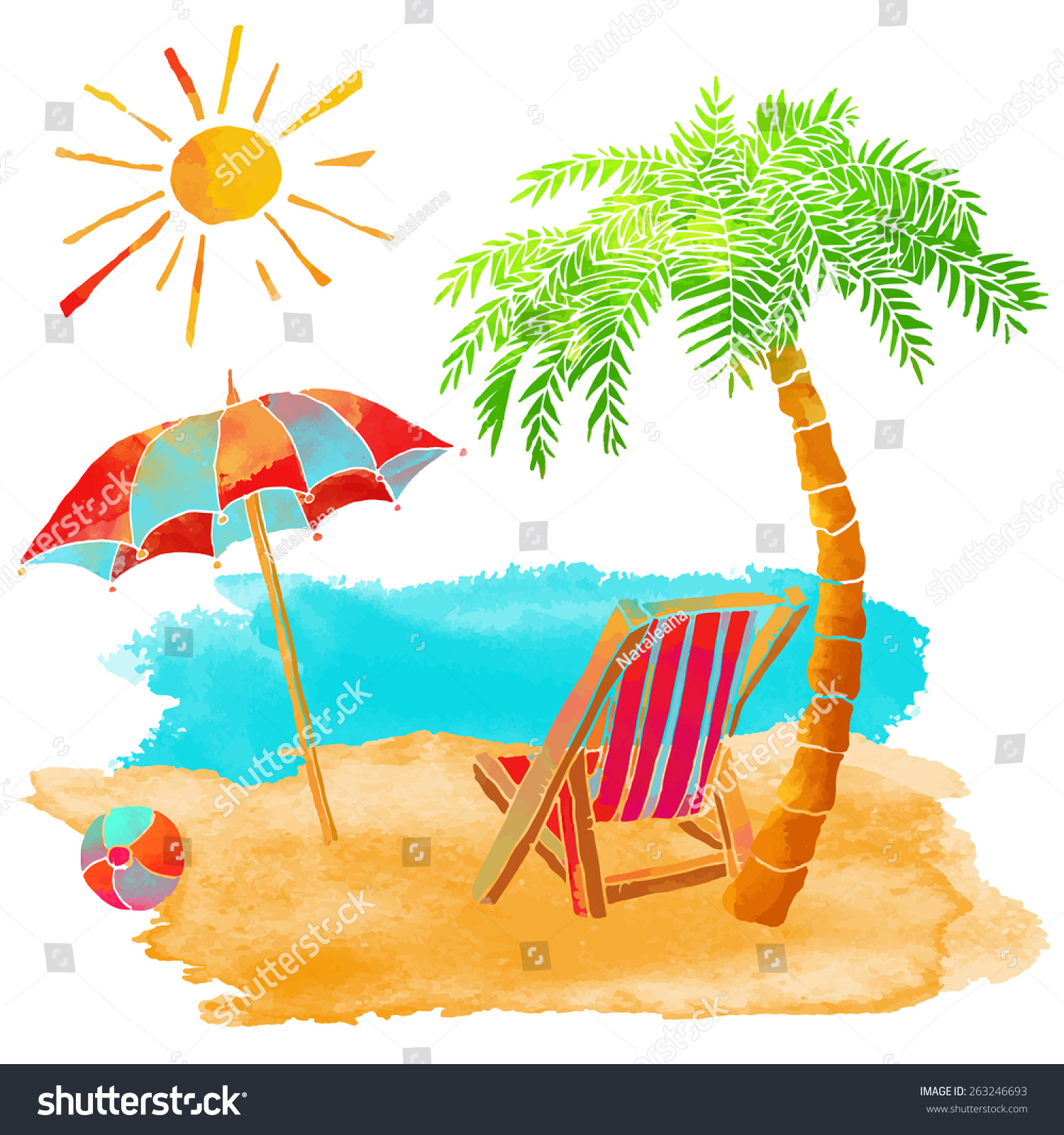 Watercolor Summer Beach Set Sea Palm Stock Vector Shutterstock