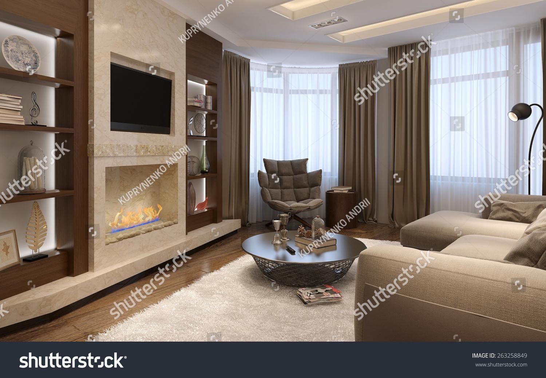 Living Room Avantgarde Style 3d Render Stock Illustration