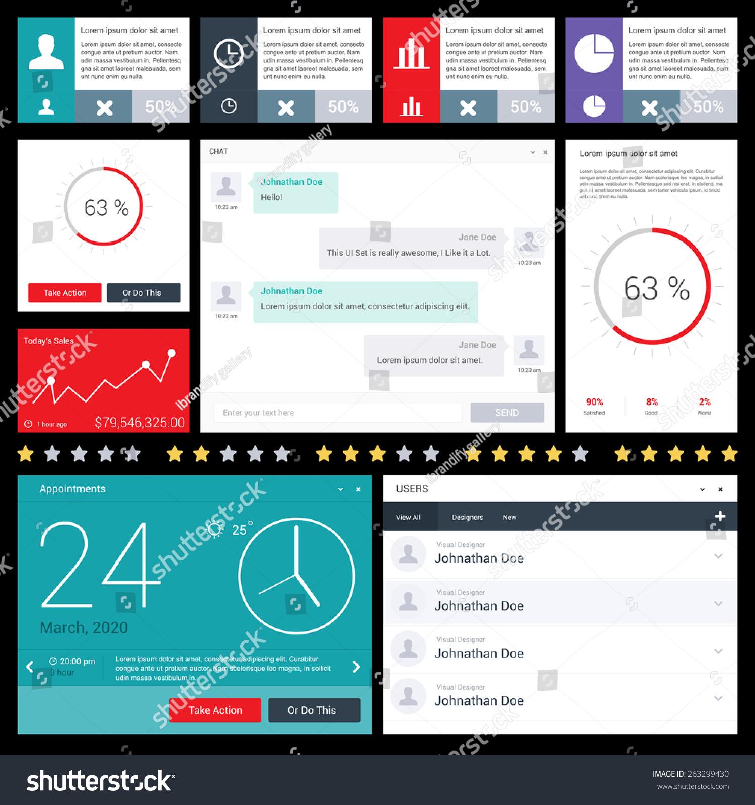 Calendar Web Widget : Dashboard ui ux kit website mobile stock vector