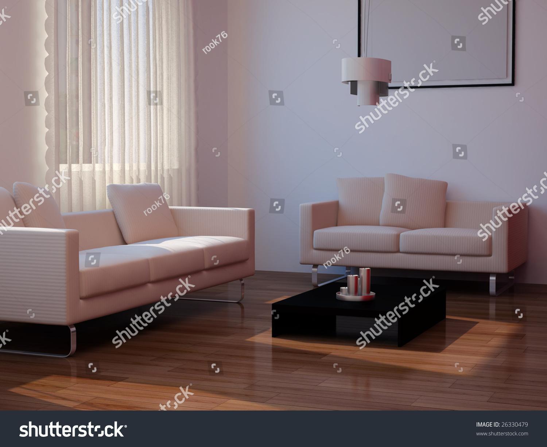 High Resolution Living Room Pictures Image Interior 3d Illustration Modern