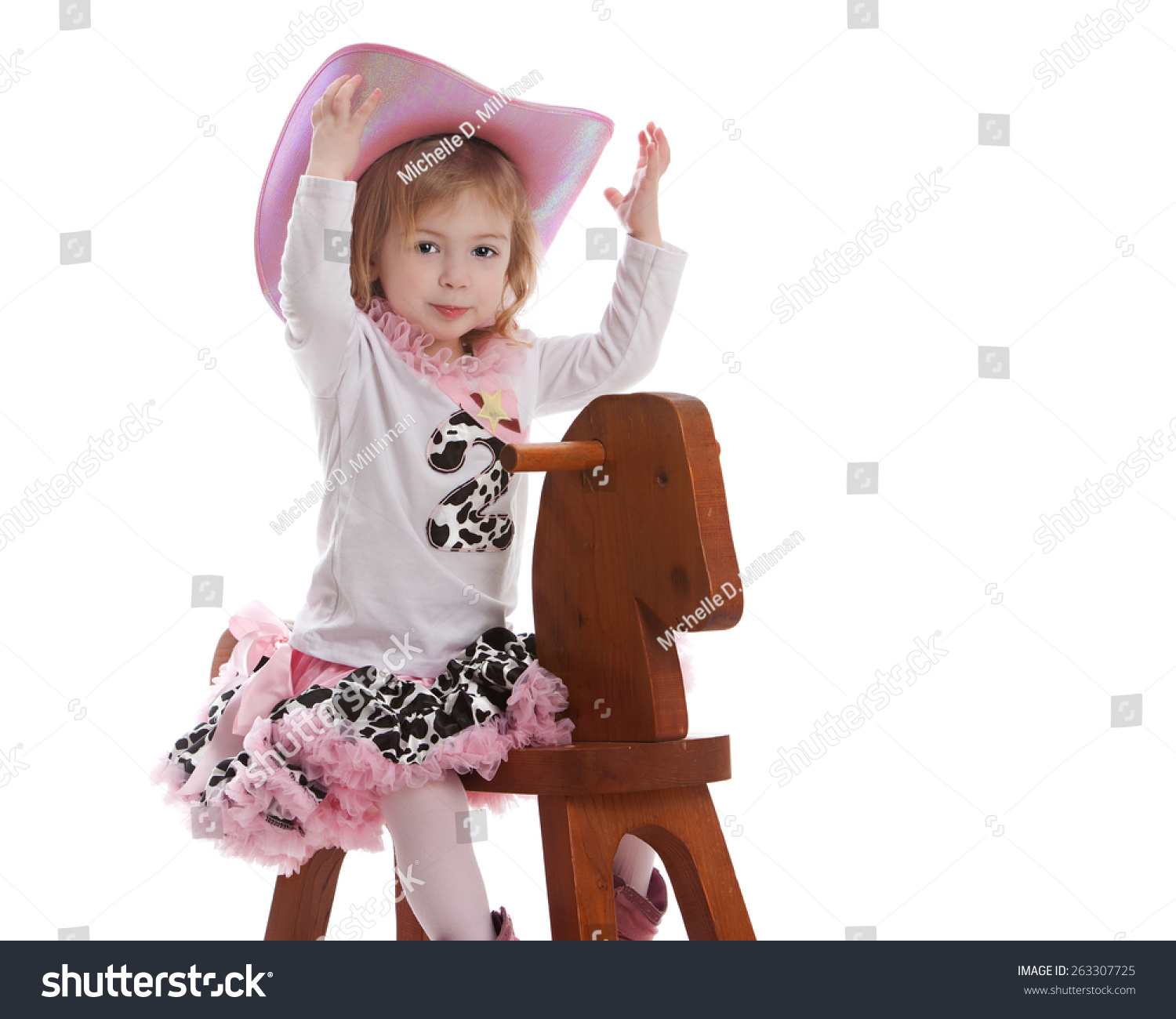 d07fbd129 Adorable Toddler Dressed Little Cowgirl Playing Stock Photo (Edit ...