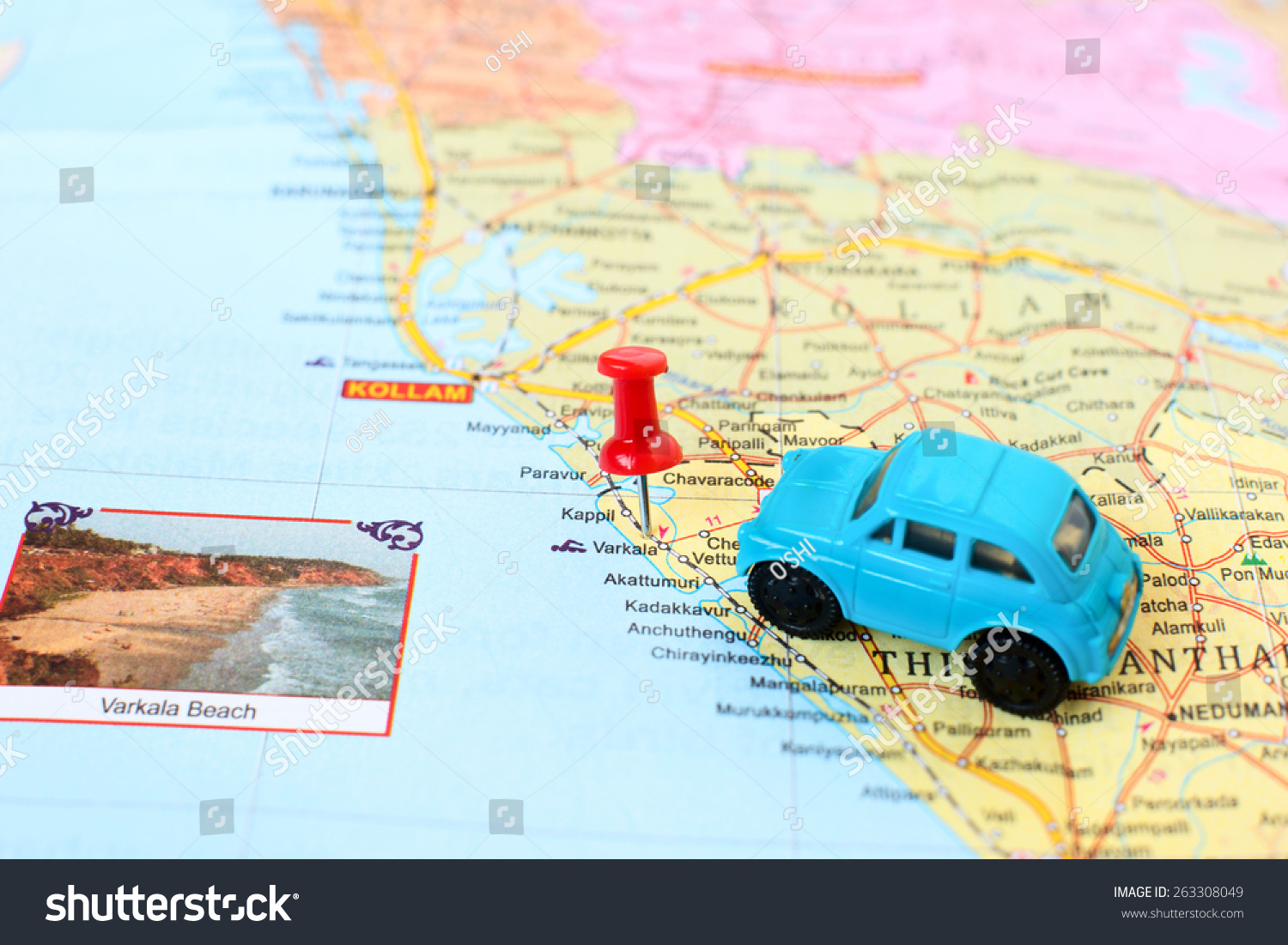 kerala map detail concept car journey stock photo (edit now