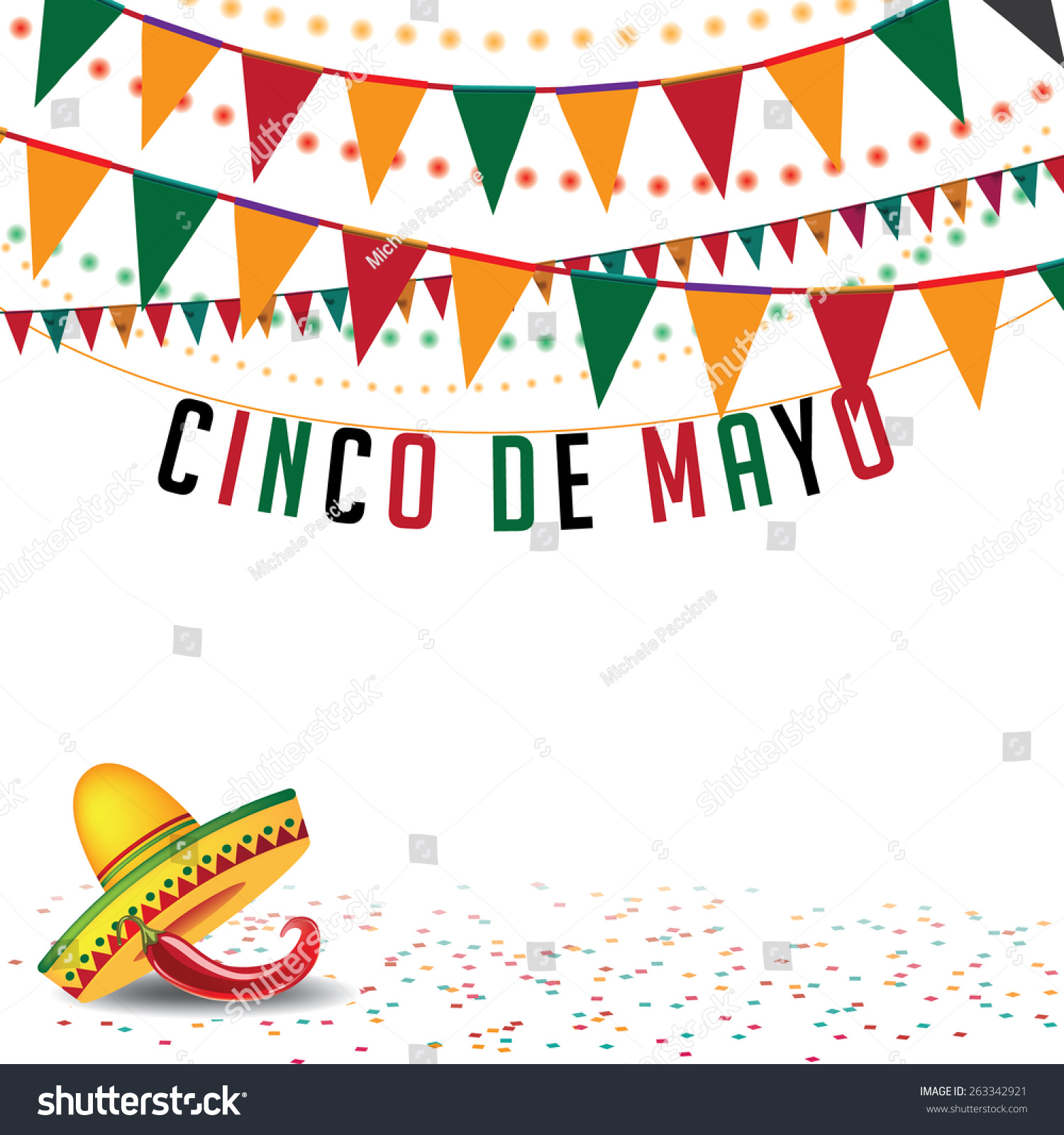 Cinco De Mayo Bunting Background Eps Stock Vector 263342921 ...