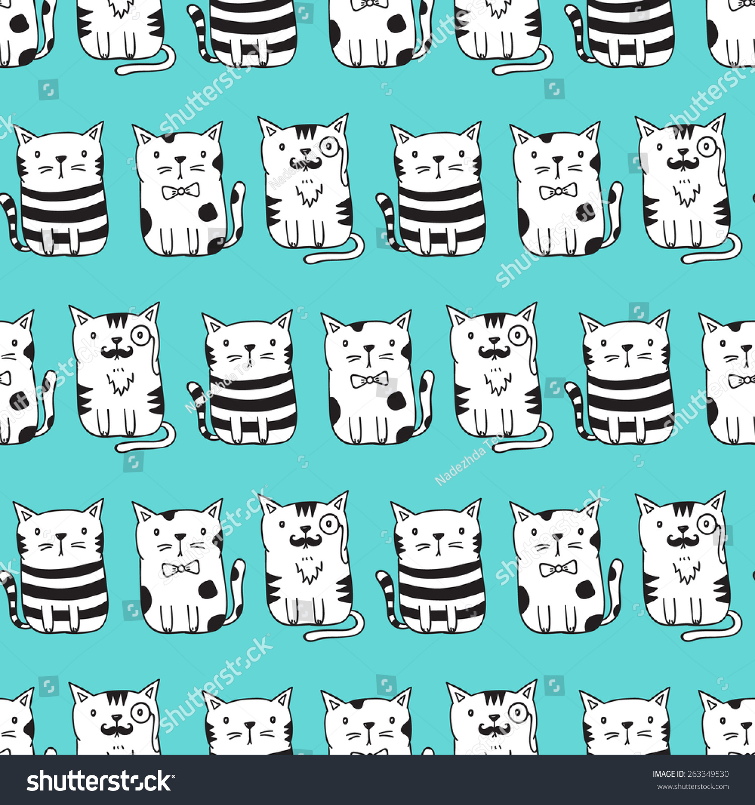 cute vector cats seamless pattern cat stock vektor