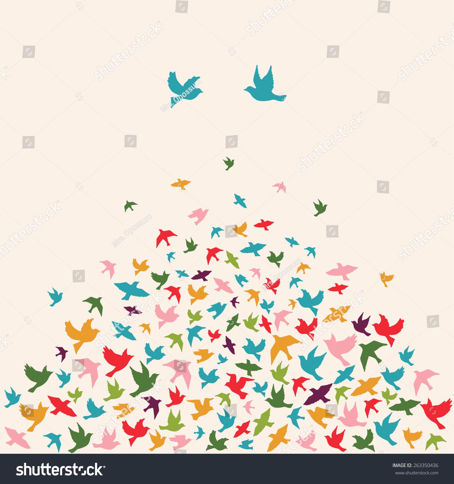 Stock Vector Silhouettes Of Flying Birds Vector Illustration