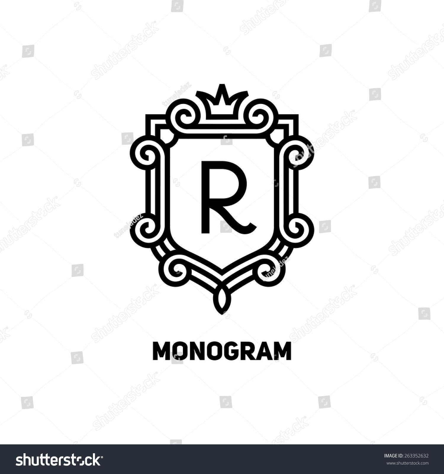 Feminine Floral Letter Logo Template: Elegant Monogram Design Template Letter R Stock Vector