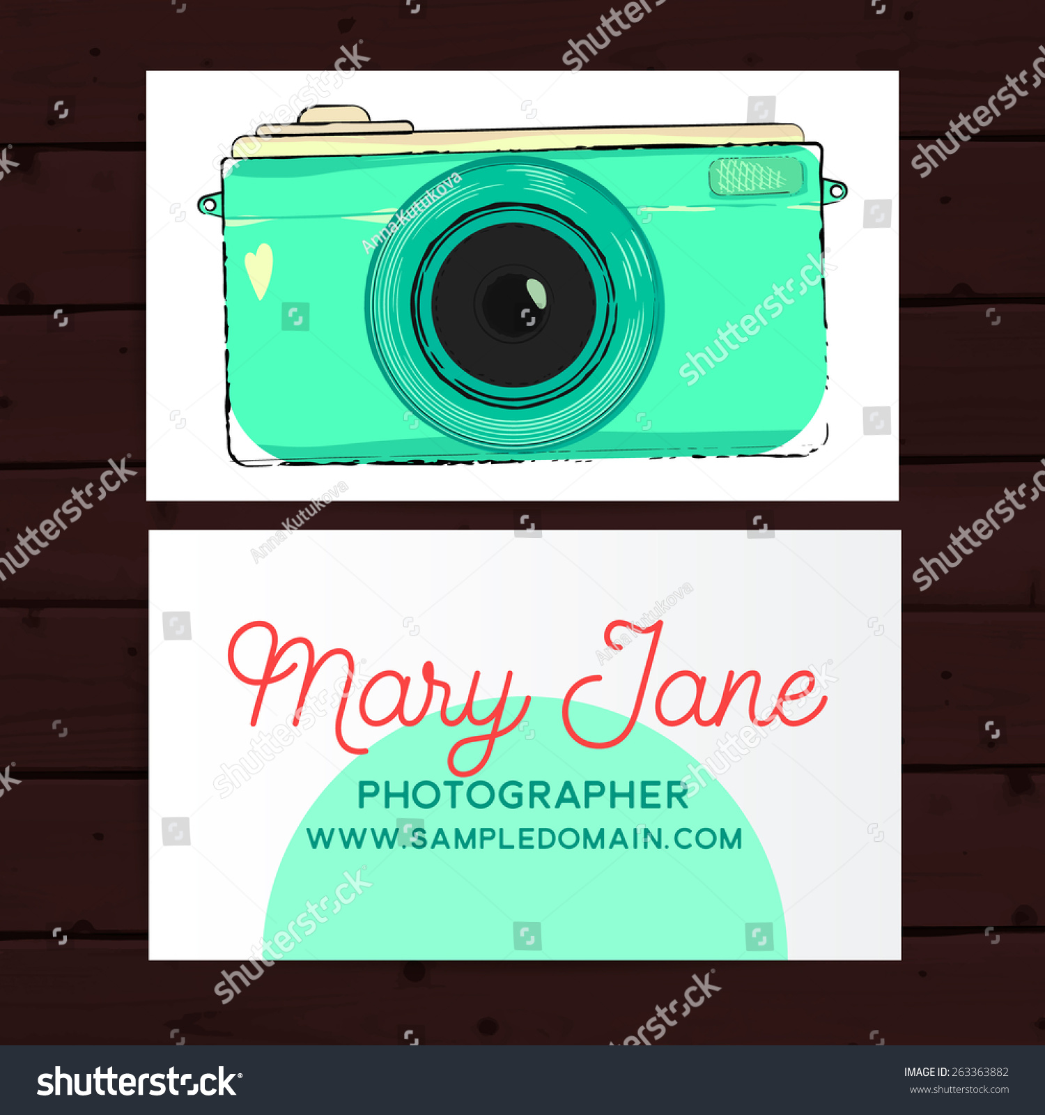 Photographer Business Card Template Retro Photo Stock Vector
