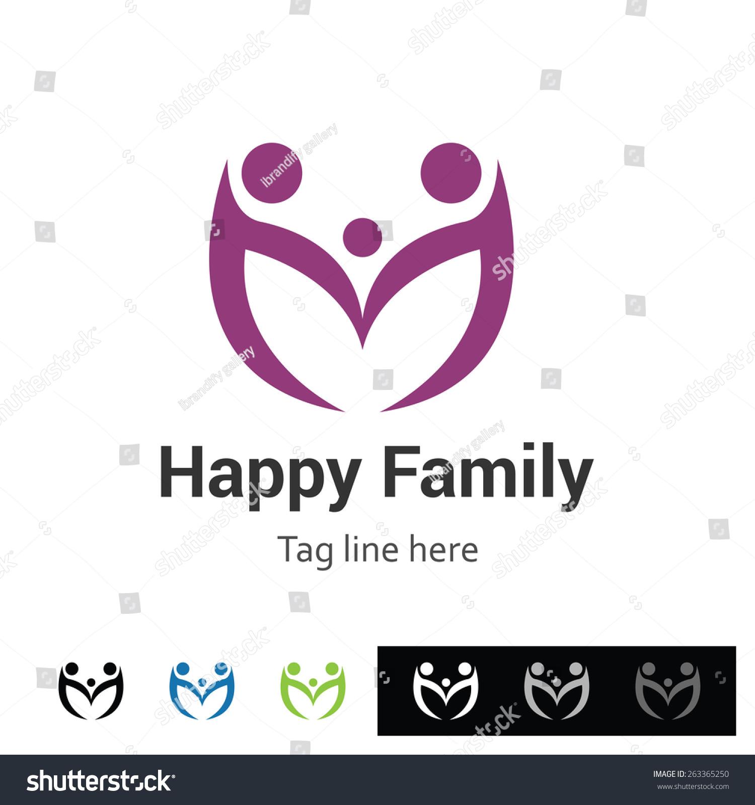 happy family logo group logo creative stock vector royalty free