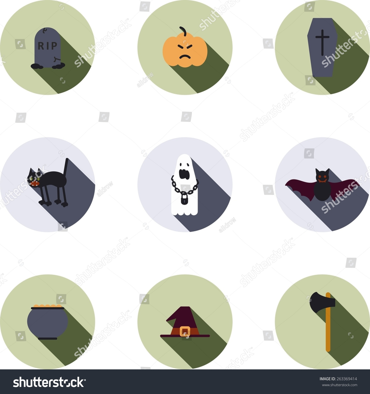 This Set Flat Design Icons Halloween Stock Vector (Royalty