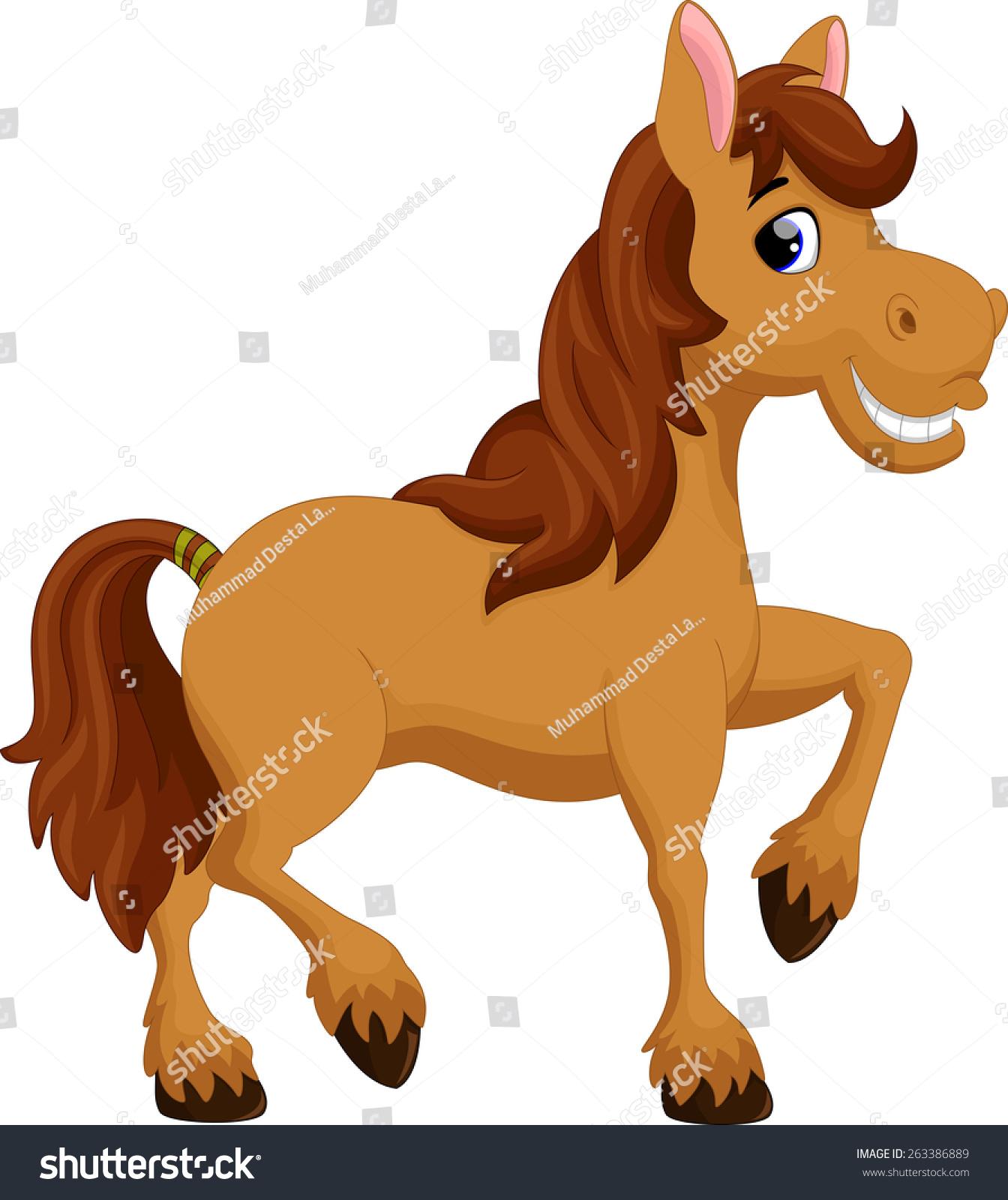 cute horse cartoon stock vector 263386889 shutterstock