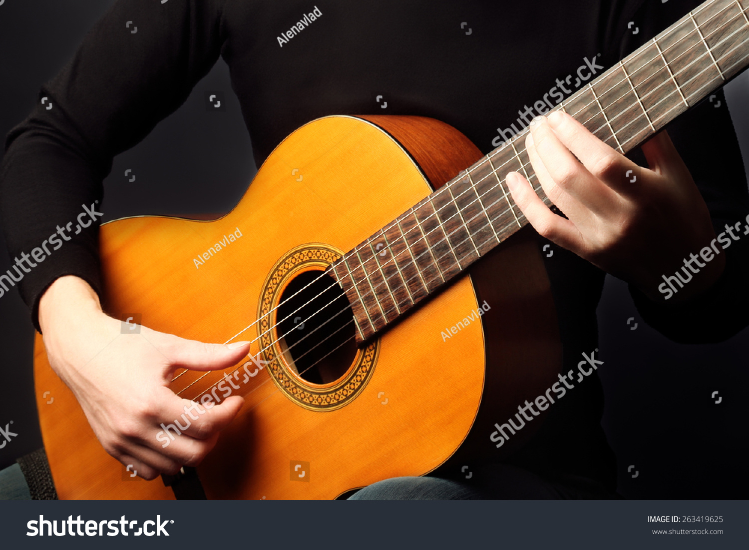 acoustic guitar hands closeup playing classical stock. Black Bedroom Furniture Sets. Home Design Ideas