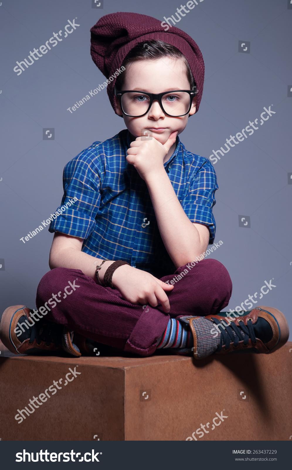 Blue Eyed Kid Glasses Boy Sitting Stock Photo Edit Now 263437229