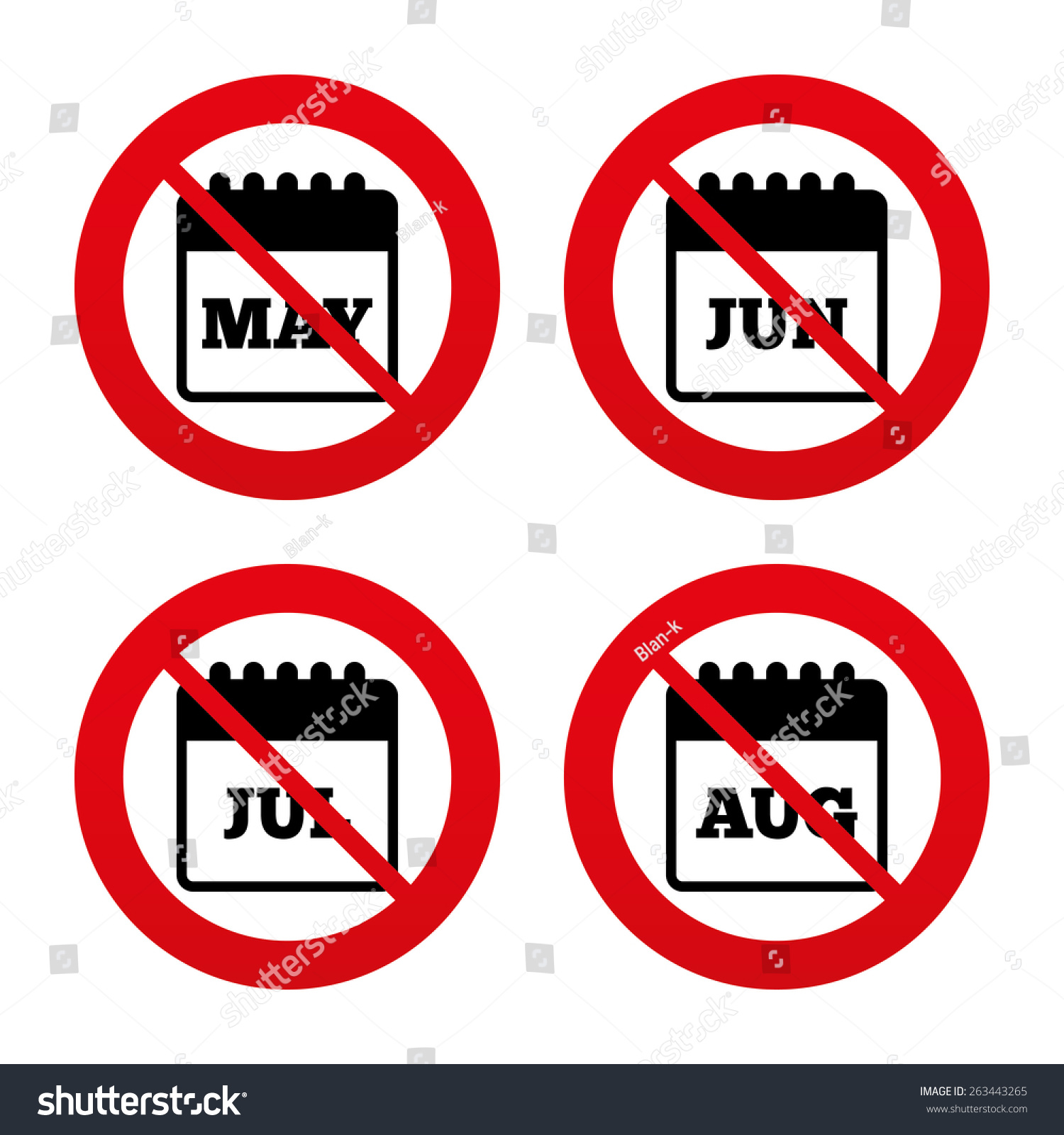 No ban stop signs calendar icons stock vector 263443265 shutterstock no ban or stop signs calendar icons may june july and buycottarizona Image collections
