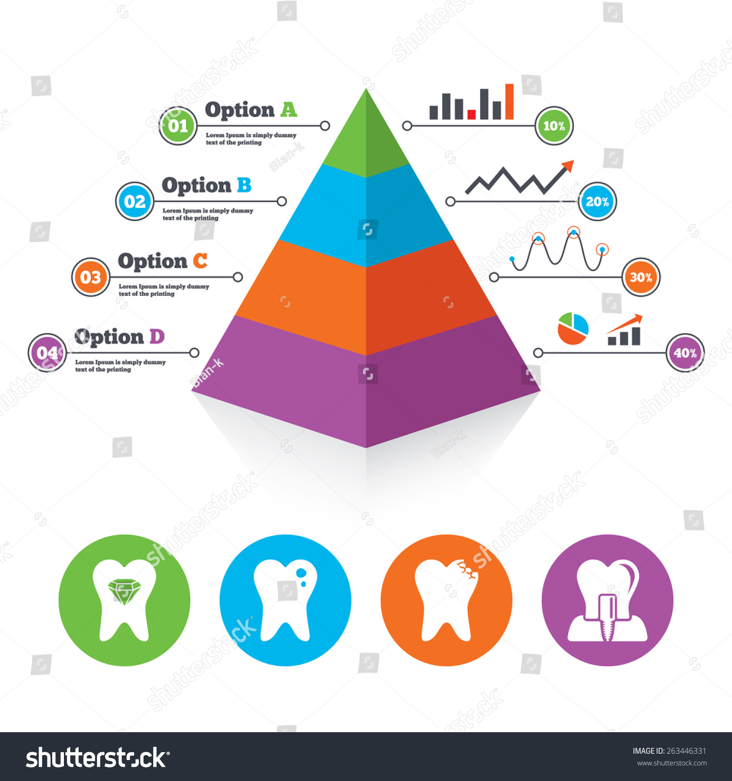 Pyramid Chart Template Dental Care Icons Vector 263446331 – Teeth Chart Template
