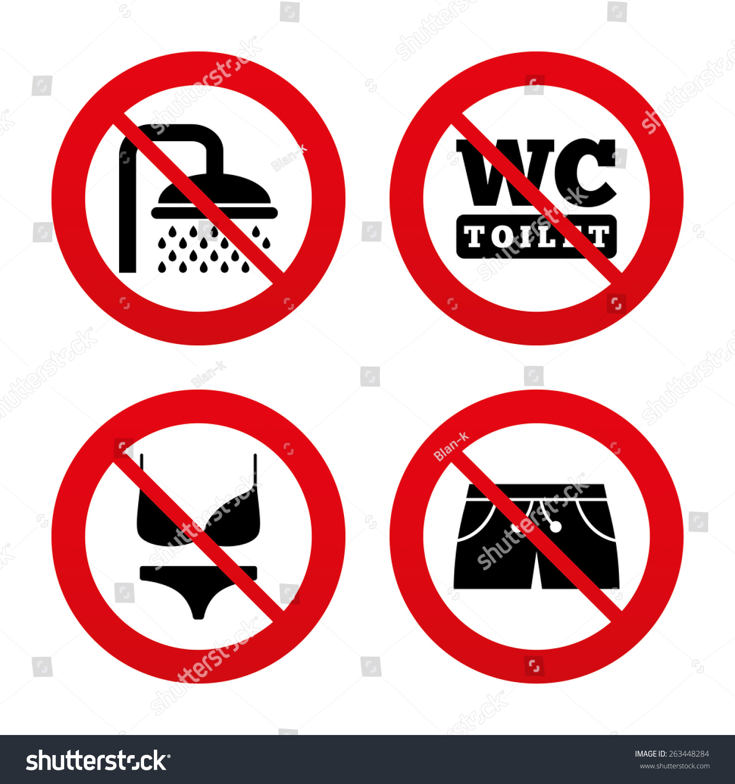 No ban or stop signs swimming pool icons shower water drops and