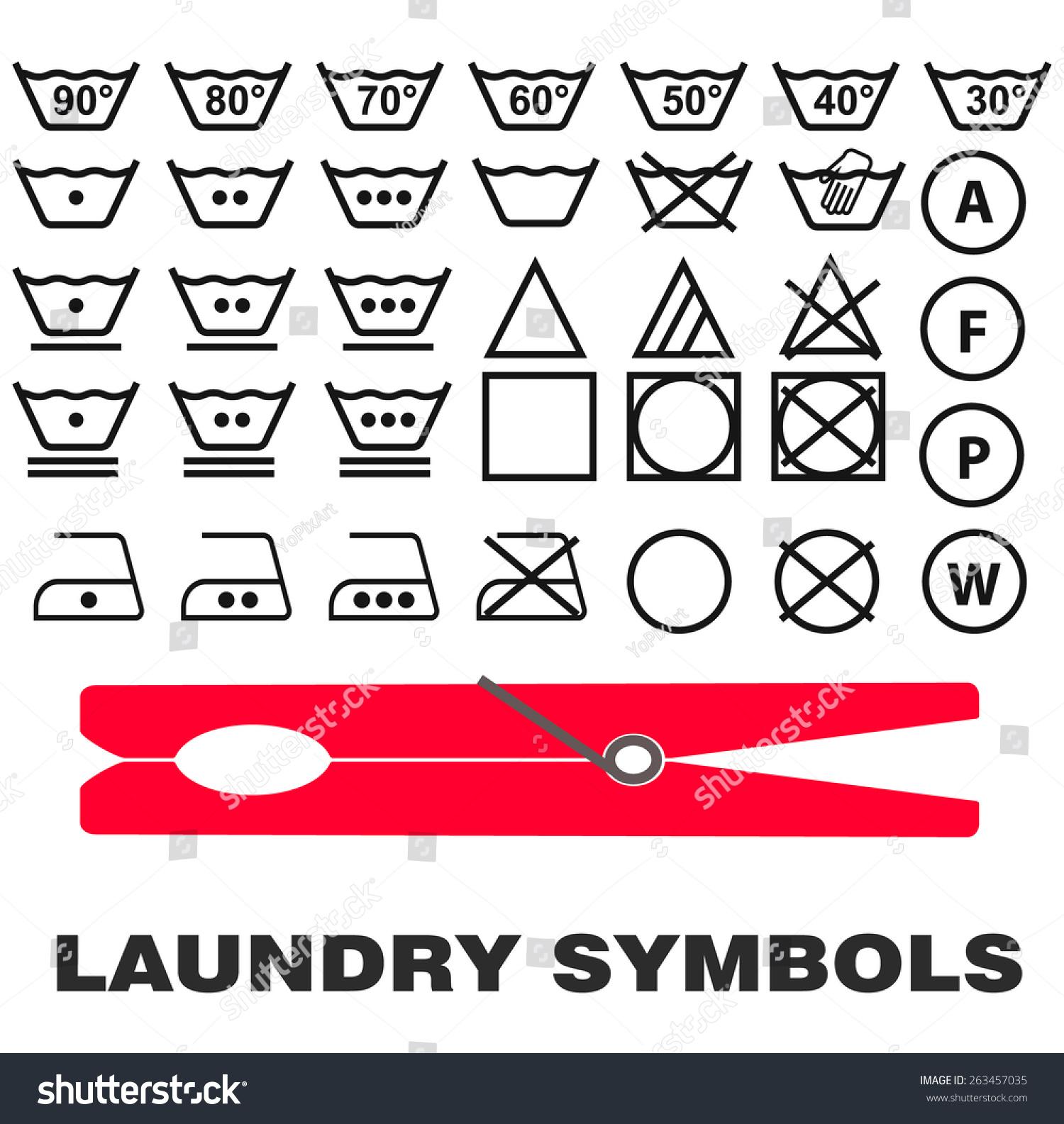 Laundry Care Symbols Icons Black On White Background