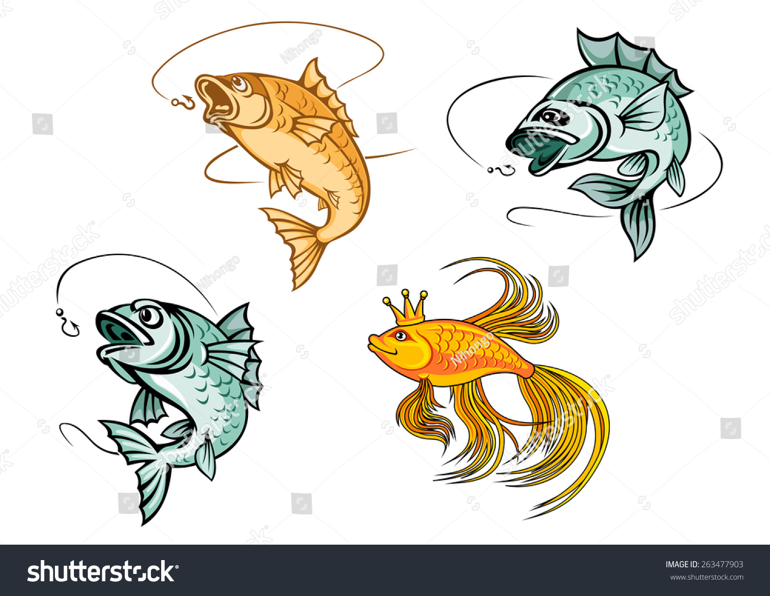 Cartoon Fishes Catching Hooks Bright Goldfish Stock Vector ...
