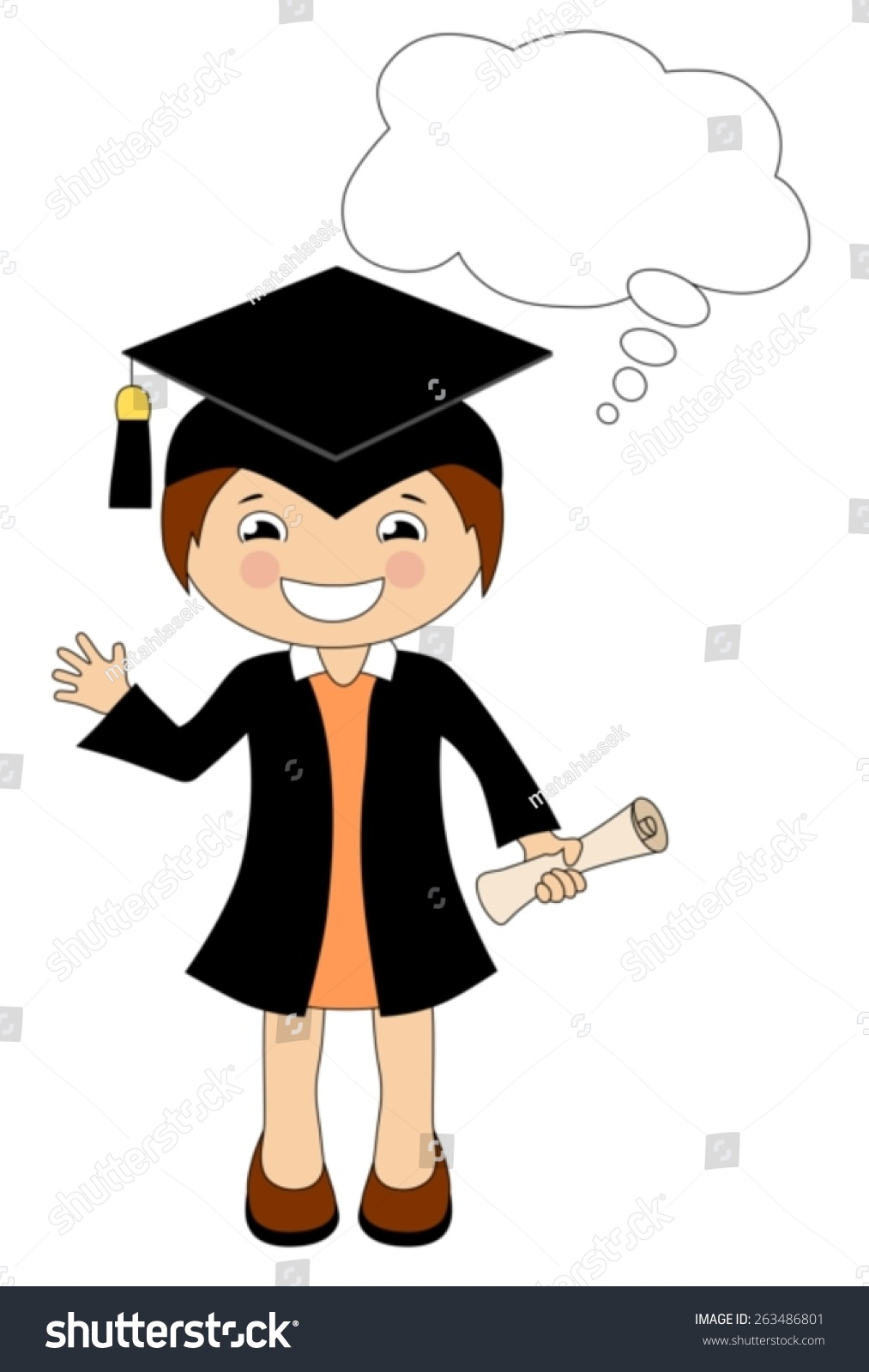 Cartoon Girl Cap Gown Graduate Speech Stock Vector 263486801 ...