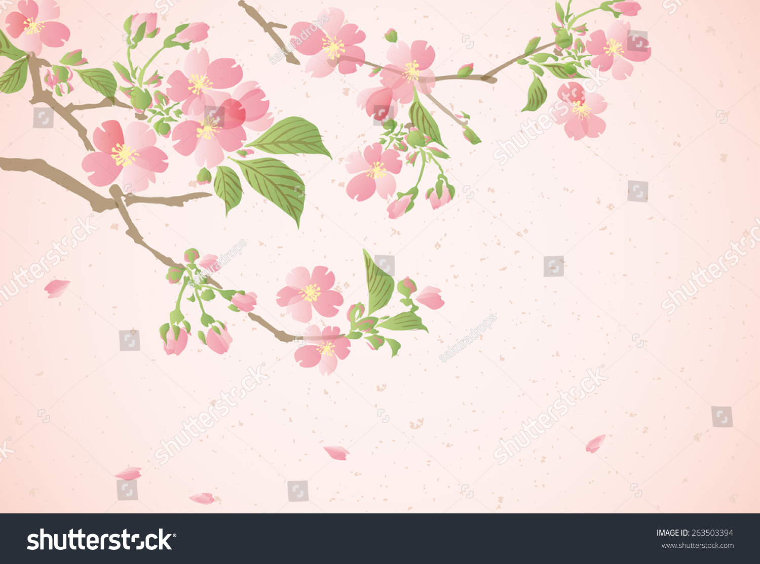 Japanese Paper With Cherry Blossom Flowers With Leaves Sakura For
