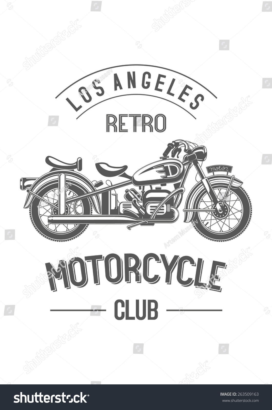 Retro Motorcycle Club Logo Monochrome Black Old Bike Isolated On White Sample City And